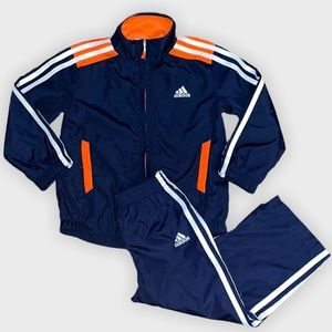 Adidas Navy & Orange Logo Jacket & Pant Set